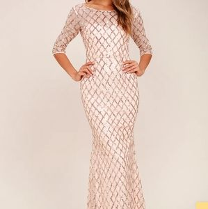 NEW Pick of the Glitter Rose Sequin Maxi Dress